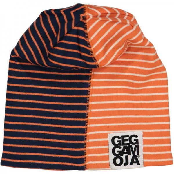 GEGGAMOJA Fleece Mütze TWO COLOR Marine/Orange
