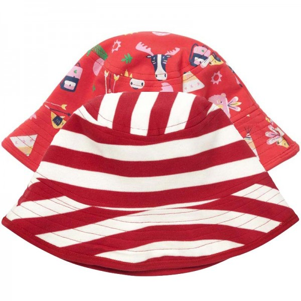 PICCALILLY Sonnenhut RED STRIPES reversible